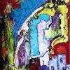 Spachtel, Rot, Intensiv, Acrylmalerei