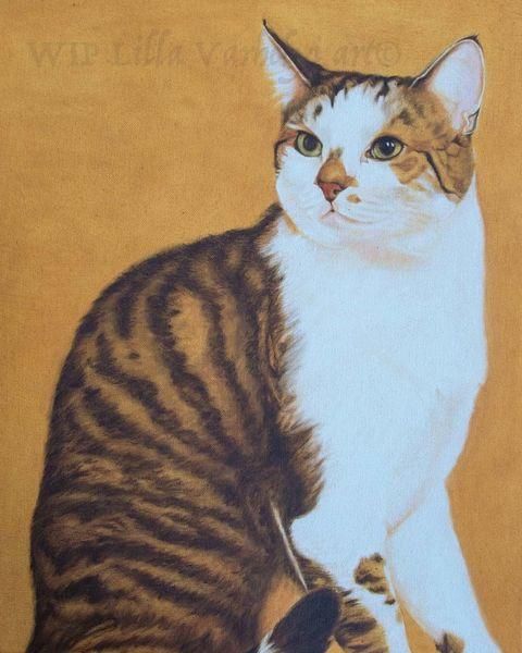 Glückskatze, Tierportrait, Schichtenmalerei, Ölmalerei, Katze, Wip
