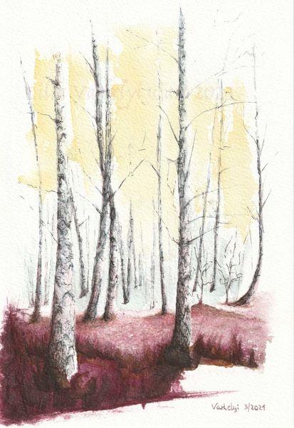Birken, Baum, Landschaft, Studie, Sonne, Tuschmalerei