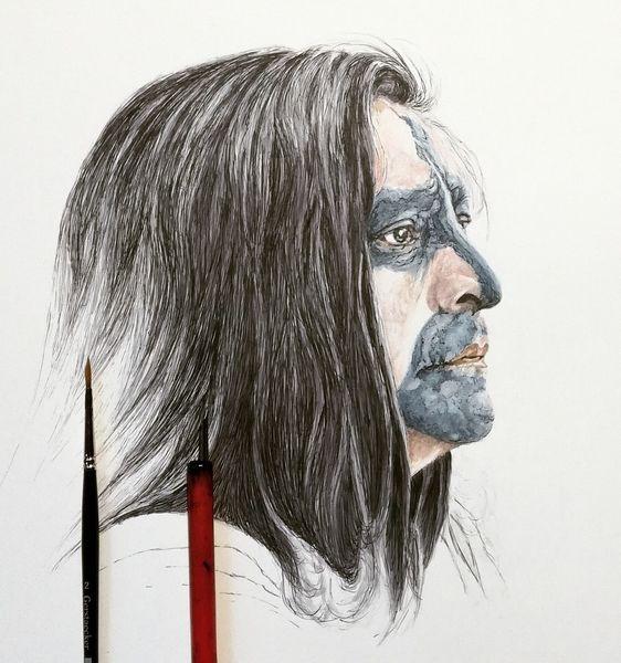 Wip, Menschen, Portrait, Gesicht, Maske, Tusche