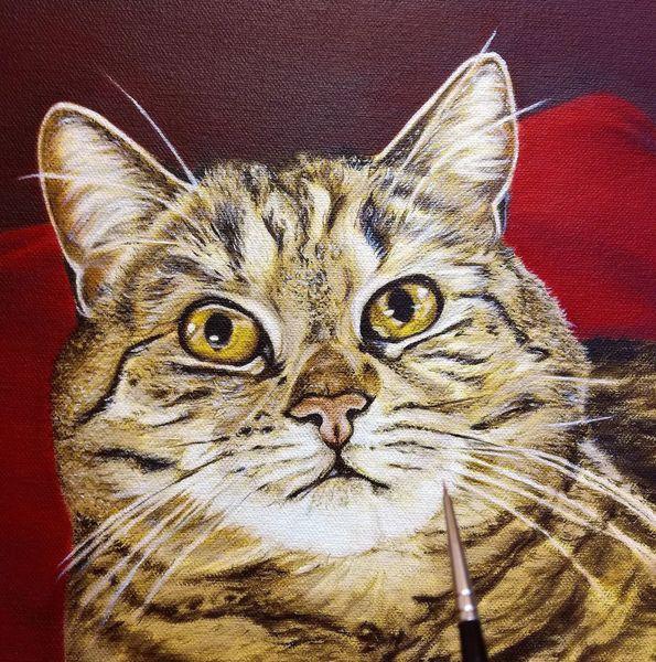 Tiermalerei, Wip, Animalpainting, Rot, Ölmalerei, Petpainting