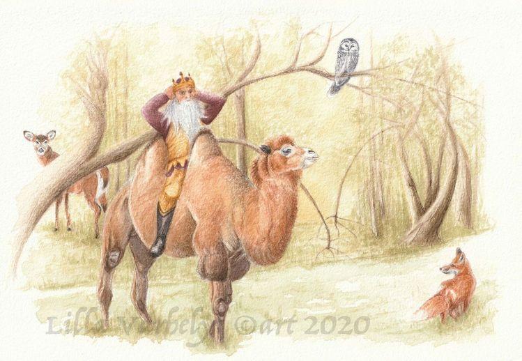 Märchen, König, Wald, Illustration, Tiere, Tuschmalerei