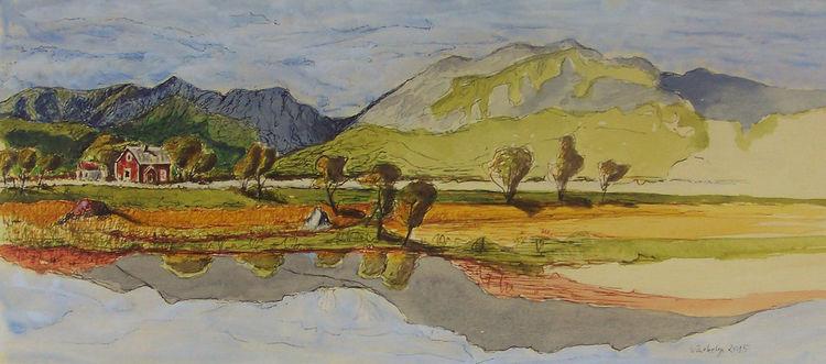 Federzeichnung, Landschaft, Wasse, Norwegen, Berge, Tuschmalerei
