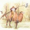 Tuschmalerei, Tiere, Kamel, Illustration