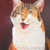 Lachen, Tiermalerei, Auftragsarbeit, Katze