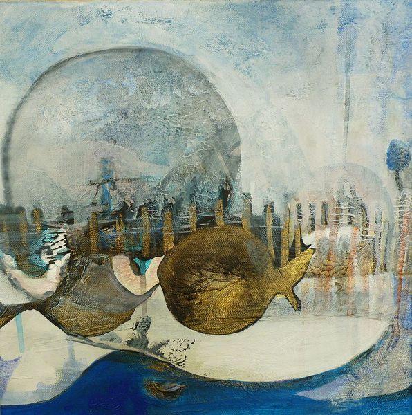 Fische, Meer, Verschmutzung, Struktur, Malerei, Grande