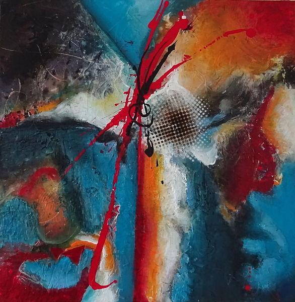 Zeitgenössisch, Acrylmalerei, Struktur, Collage, Abstrakt, Rot