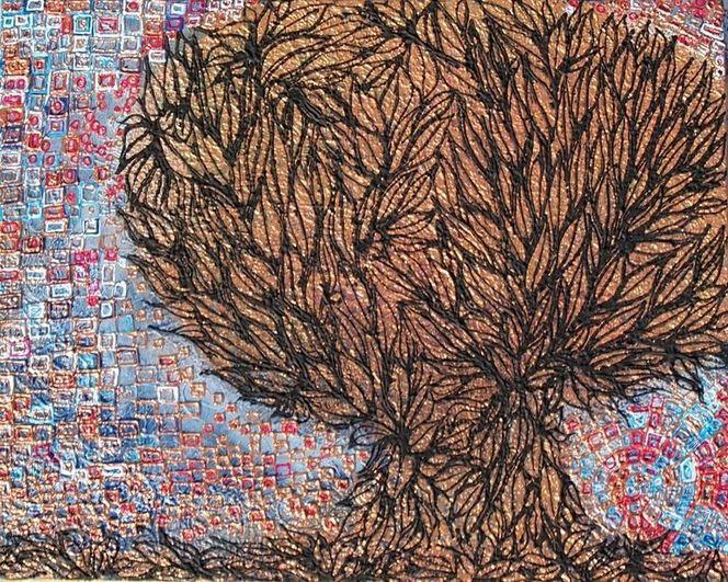 Herbst, Relief, Baum, Schwarz, Bunt, Struktur