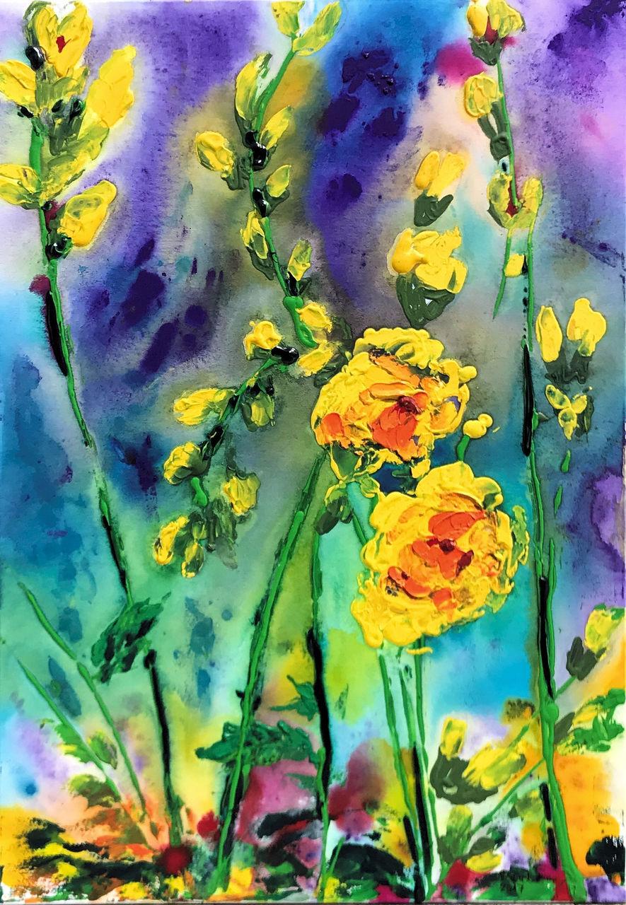freesien blumen freesien farben malerei von heidemarie rauh on kunstnet. Black Bedroom Furniture Sets. Home Design Ideas