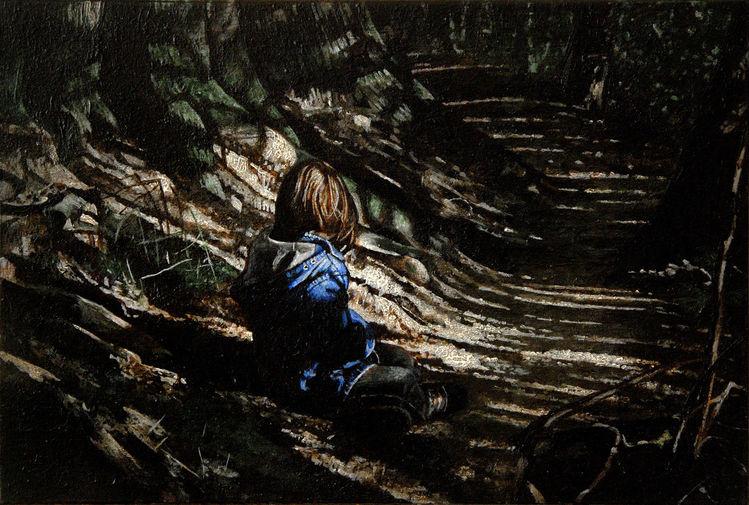Malerei, Landschaft, Menschen, Kind