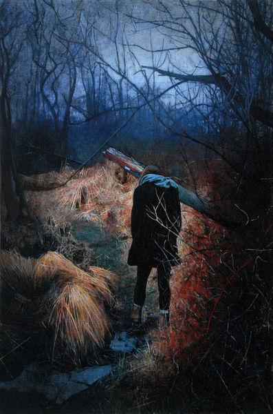 Menschen, Realismus, Frau, Natur, Malerei, Wald