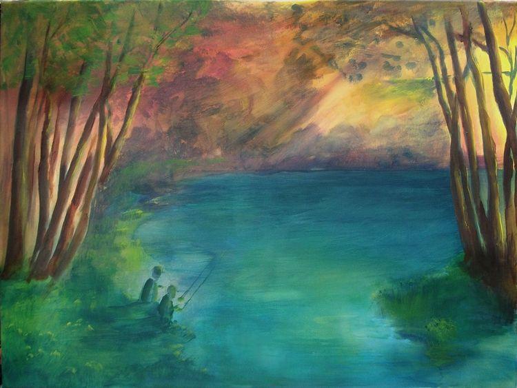 Licht, Sonne, Wasser, Gewässer, Angeln, Malerei