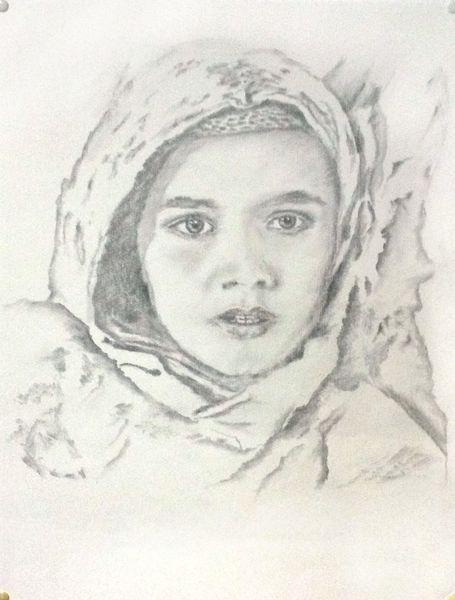 Kind, Mädchen, Flucht, Bleistiftzeichnung, Zeichnung, Zeichnungen