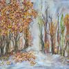 Jahreszeiten, Herbstwald, Acrylmalerei, Laub