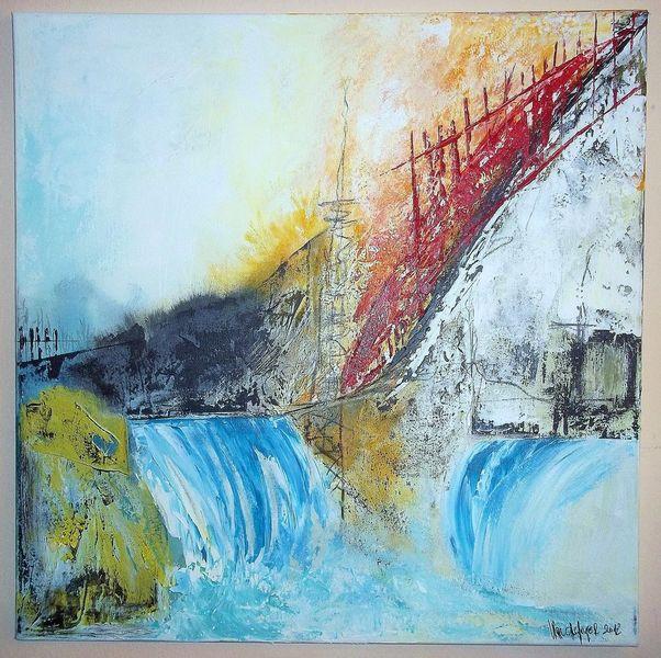Orange, Blau, Felsen, Gelb, Wasserfall, Steig