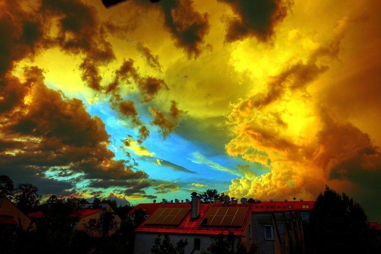 Orange, Dach, Wolken, Sonnenuntergang, Himmel, Ausblick