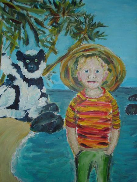 Tiere, Kind, Reise, Meer, Strand, Malerei