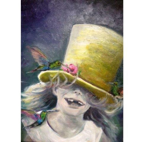Ölmalerei, Gelb, Gemälde, Mädchen, Zylinder, Kolibri