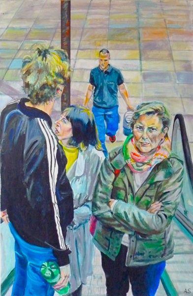 Rolltreppe, Menschen, Malerei