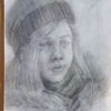 Bleistiftzeichnung, Mädchen, Winter, Zeichnungen