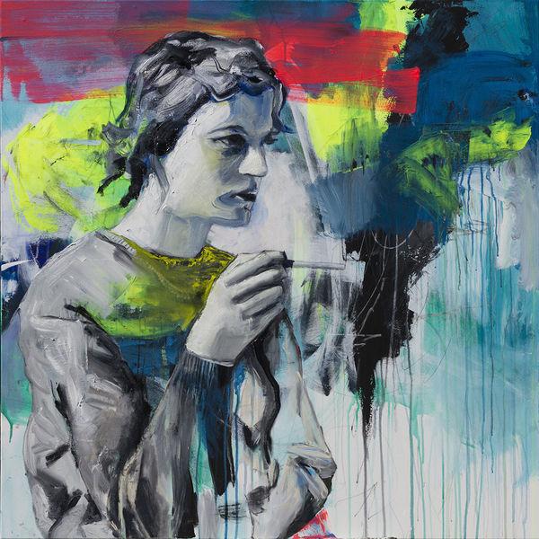 Streetart, Frau, Portrait, Graffiti, Melancholisch, Neon