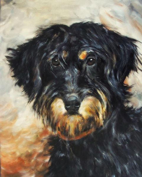 Hundeportrait, Tiervermittlung, Donzdorf, Mischlingsrüde, Malerei