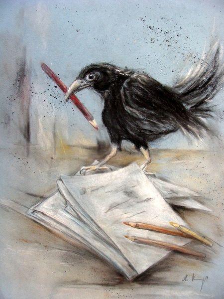 Rabenzeichnung, Tierzeichnung, Krähe, Rabe, Zeichnungen