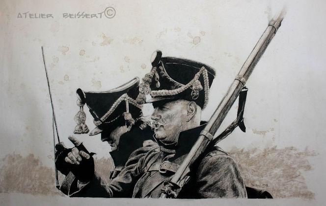 Italie, Soldat, Drache, La bavière, Zeichnung, Militaire