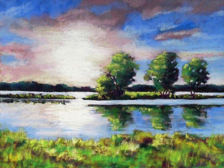 Wolken, Spiegelung, Bäume himmel, Landschaft, Malerei, Pastellmalerei