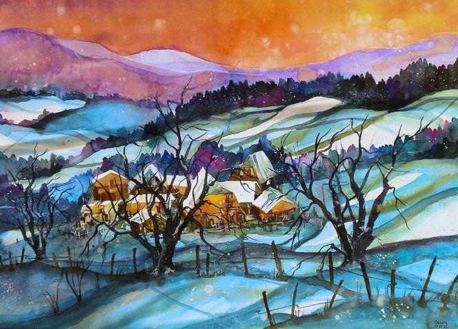 Emmental, Landschaft, Schnee, Winter, Aquarellmalerei, Aquarell