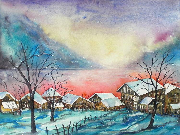 Schnee, Landschaft, Winter, Thun, Aquarellmalerei, Thunersee