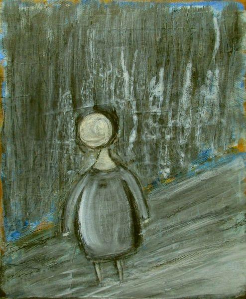 Dunkel, Figur, Wald, Weg, Malerei
