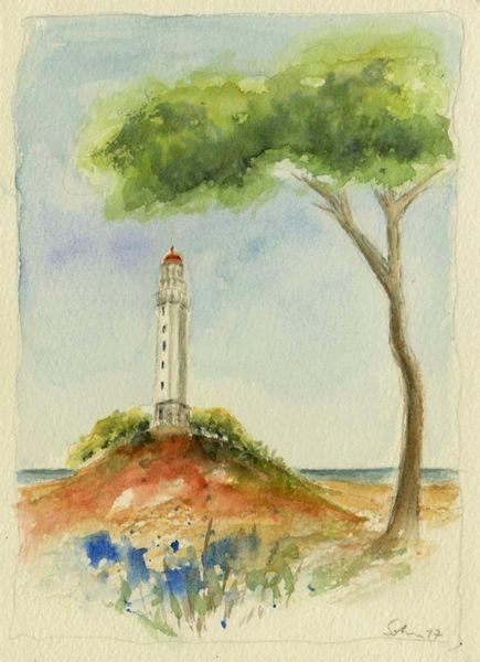 Leuchtturm, Baum, Aquarellmalerei, Landschaft, Aquarell