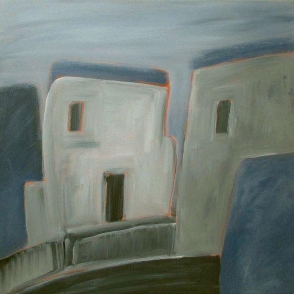Blau, Haus, Schwarz weiß, Grau, Malerei