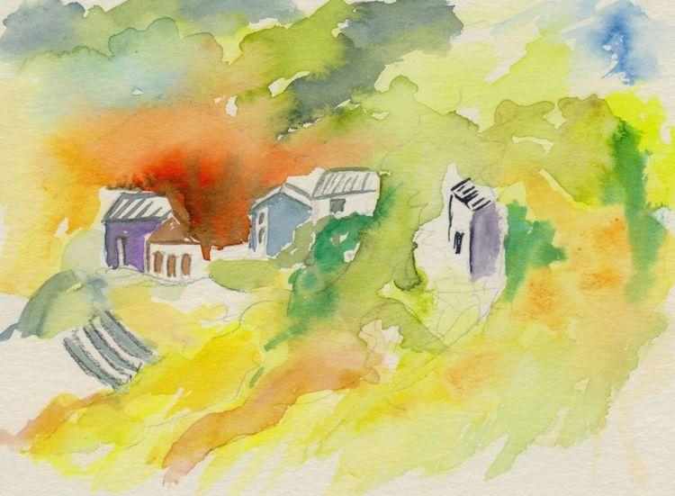 Landschaft, Häuser, Aquarellmalerei, Aquarell