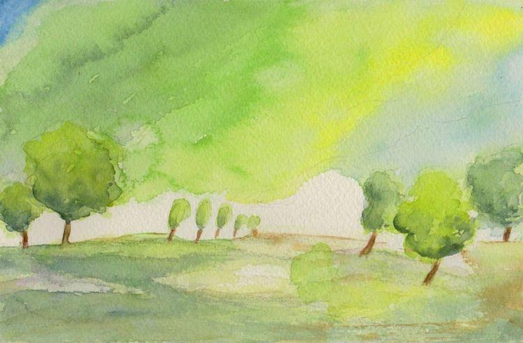 Baum, Aquarellmalerei, Landschaft, Aquarell