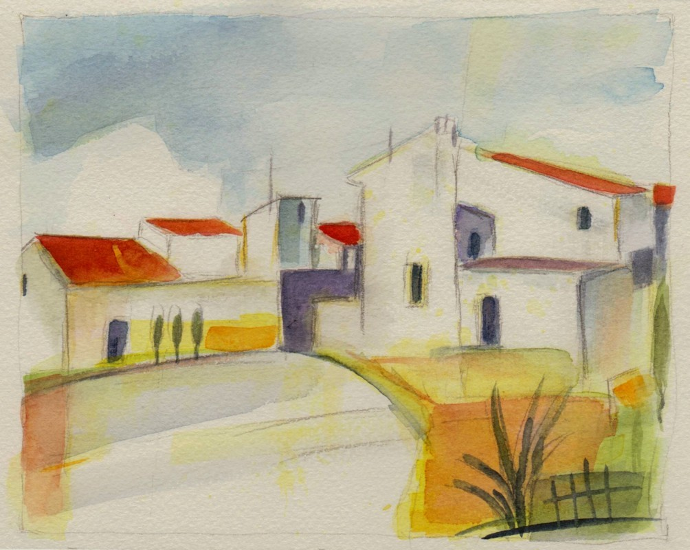Bild aquarellmalerei haus himmel aquarell von ullysses for Architektur aquarell