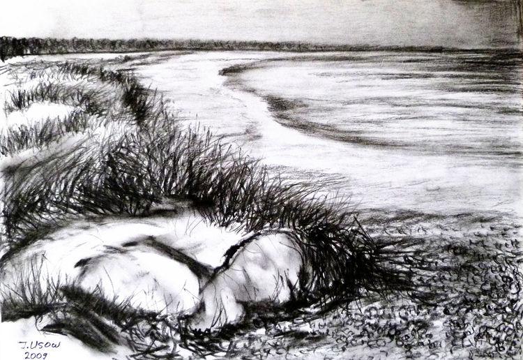 Landschaft, Natur, Ostsee, Kohlezeichnung, Zeichnungen