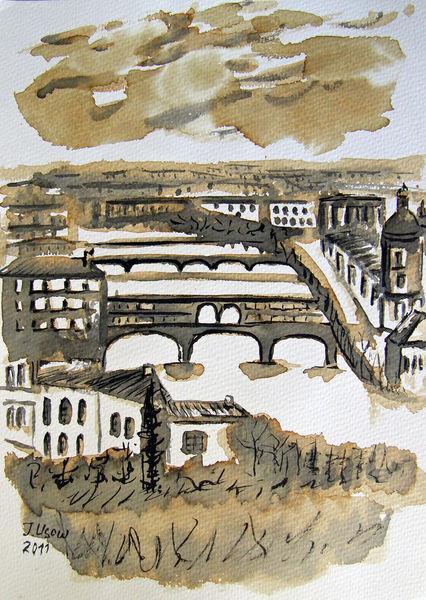 Zeichnung, Florenz, Landschaft, Architektur, Italien, Brücke