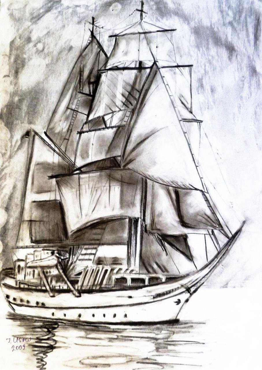 Segelschiff bleistiftzeichnung  Bild: Segelschiff, Kohlezeichnung, Meer, Zeichnung von Irina Usova ...