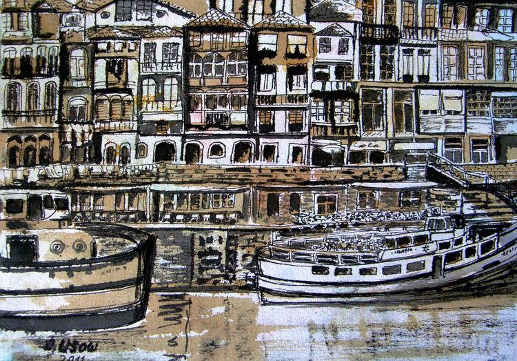 Landschaft, Architektur, Porto, Zeichnung, Zeichnungen