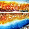See, Aquarellmalerei, Spiegelung, Landschaft
