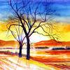 Feld, Aquarellmalerei, Baum, Landschaft