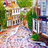 Aquarellmalerei, Frankreich, Landschaft, Straße