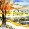 Natur, Herbst, Aquarellmalerei, Landschaft
