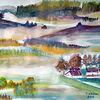 Aquarellmalerei, Landschaft, Natur, Aquarell