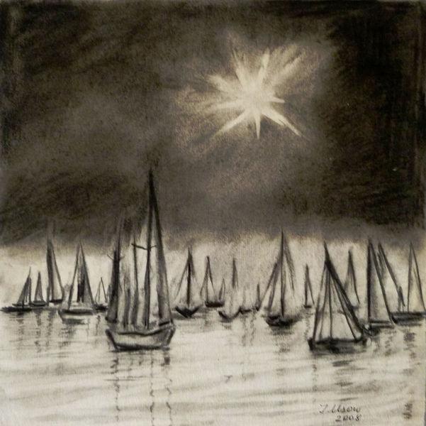 Natur, Kohlezeichnung, Meer, Landschaft, Segelboot, Zeichnungen