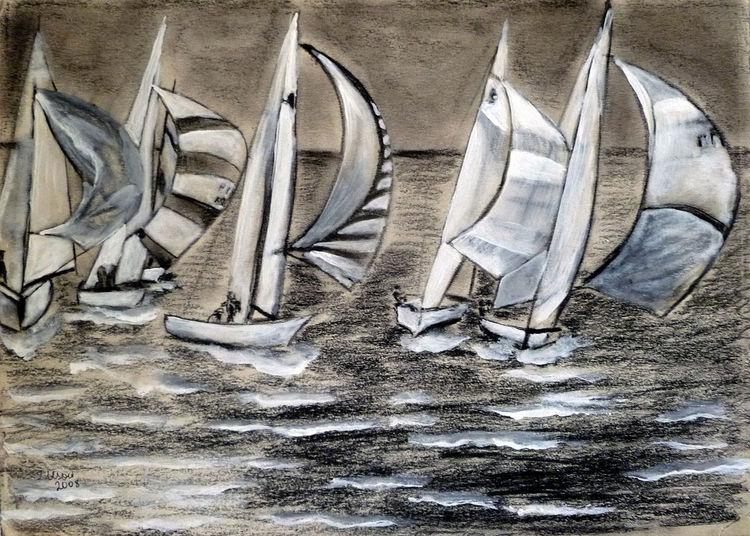 Segelboot, Zeichnung, Landschaft, Natur, Zeichnungen