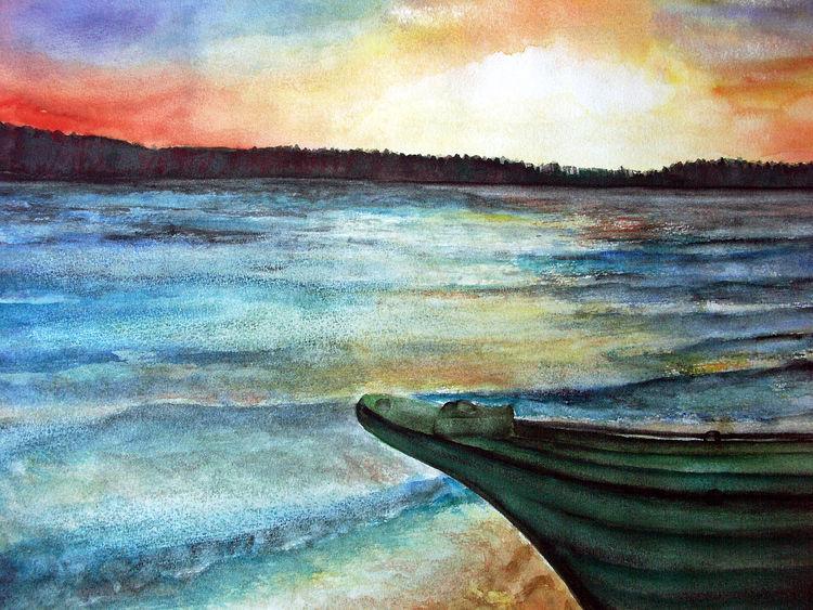 Natur, See, Boot, Aquarellmalerei, Landschaft, Aquarell