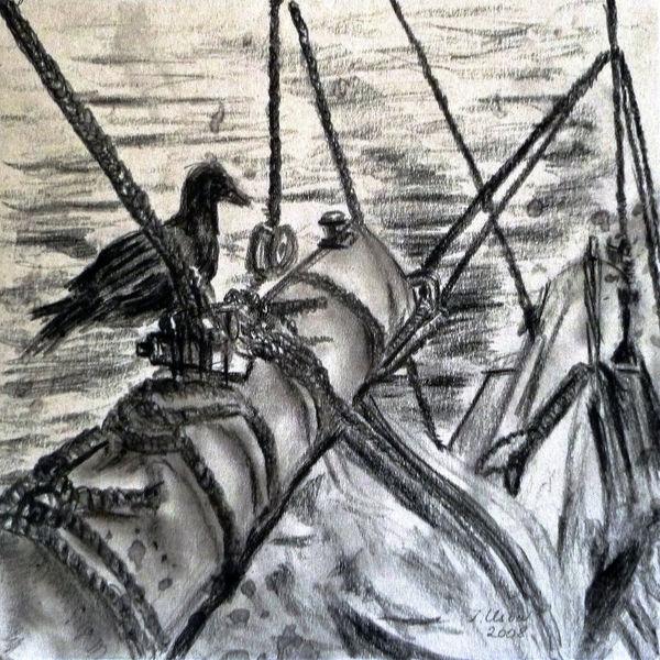 Schiff, Zeichnung, Landschaft, Natur tiere, Zeichnungen, Tiere